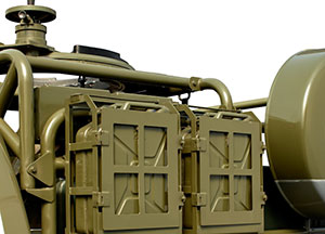 Various military features like 4 20 l jerry-cans, convoy-lamps, blackout-lamps, etc