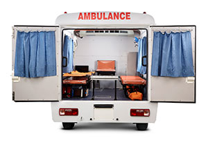 Adequate space for live saving equipment like O2 Cylinder, IV bottle hooks, etc