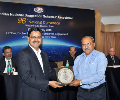 3rd Prize  – Excellence in Suggestion Scheme Category : Auto Industry group at  26th National Convention of INSSAN