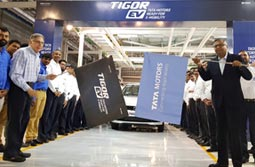N Chandrasekaran, Chairman, Tata Sons and Tata Motors flags off the Tigor EVs from Sanand plant